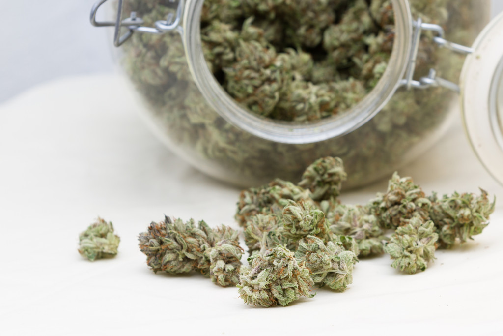 close up of a stash of medicinal marijuana for a concept ** Note: Shallow depth of field